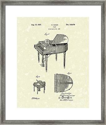 Piano 1937 Patent Art Framed Print by Prior Art Design