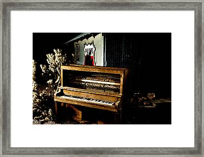 Framed Print featuring the photograph Piano In The Dark.  by James Sage