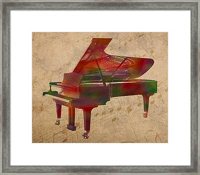 Piano Instrument Watercolor Portrait With Sheet Music Background On Worn Canvas Framed Print by Design Turnpike