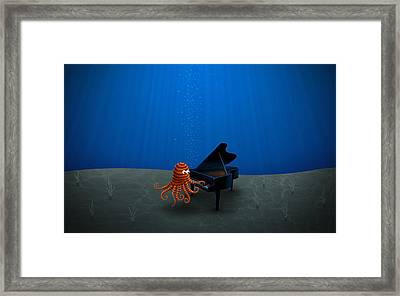 Piano Playing Octopus Framed Print by Gianfranco Weiss