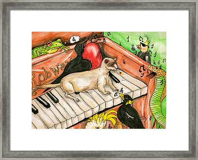 Piano Sing Along Framed Print by Julie McDoniel