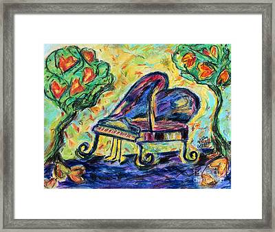Piano With Heart Trees Framed Print by Kelly Athena
