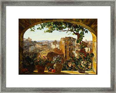 Piazza Barberini In Rome Framed Print by Karl von Bergen