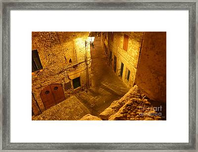 Piazza By Night In Tuscany Framed Print by Ramona Matei