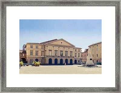 Piazza Del Giglio Teatro Comunale Del Giglio Lucca Tuscany Framed Print by Peter Noyce