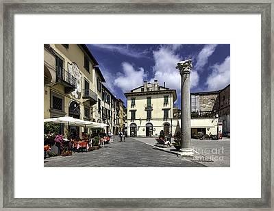 Piazza Della Colonna Mozza In Lucca Tuscany Framed Print