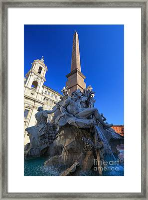 Piazza Navona Fountain Framed Print by Inge Johnsson