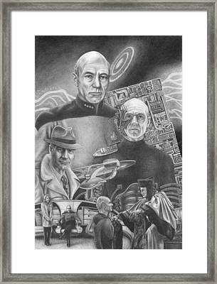 Picard Black And White Framed Print by Jonathan W Brown