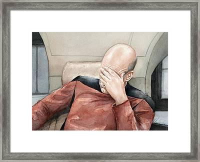 Picard Facepalm Meme Watercolor Framed Print by Olga Shvartsur