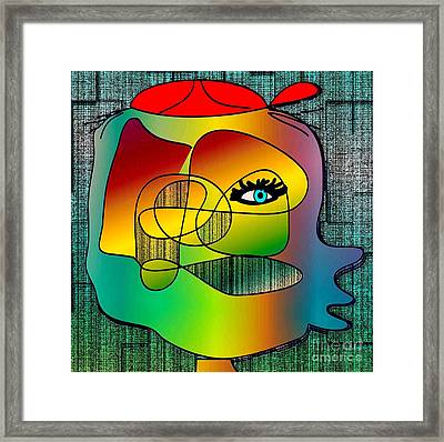Picasso Inspired Cartoon Framed Print by Iris Gelbart