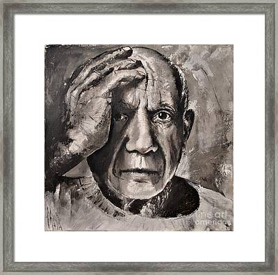 Framed Print featuring the painting  Portrait Of Pablo Picasso by Maja Sokolowska