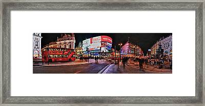 Piccadilly Circus At Night, London Framed Print
