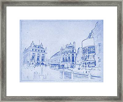 Piccadilly Circus Blueprint Framed Print by Kaleidoscopik Photography