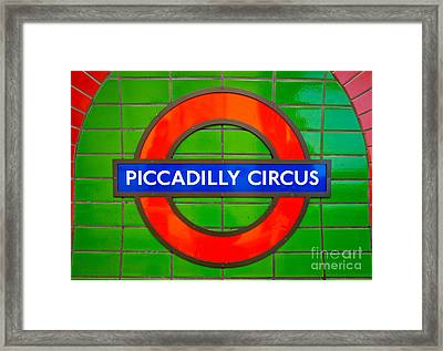 Framed Print featuring the photograph Piccadilly Circus Tube Station by Luciano Mortula