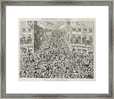Piccadilly During The Great Exhibition Framed Print by George Cruikshank