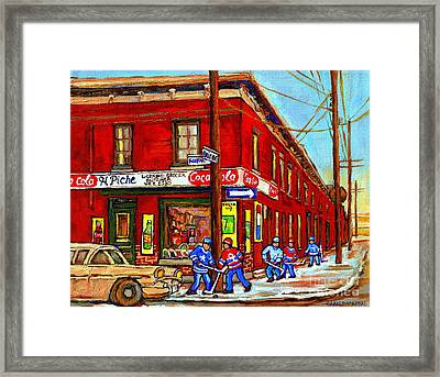 Piche's Grocery Store Bridge Street And Forfar Goosevillage Montreal Memories By Carole Spandau Framed Print