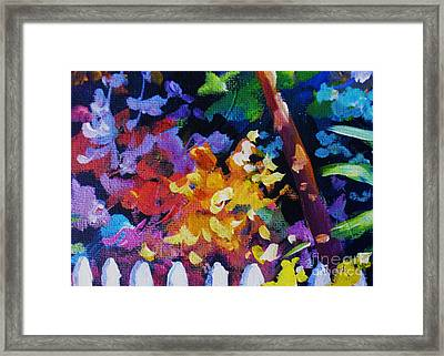 Picket Fence And Bushes Framed Print