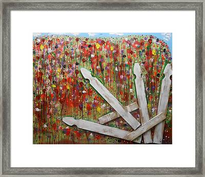 Picket Fence Flower Garden Framed Print