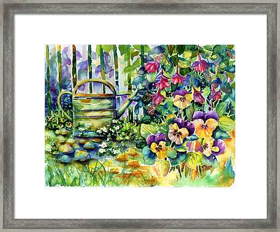 Picket Fence Pansies Framed Print