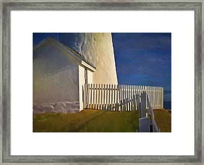 Picket Fence Pemaquid Lighthouse Maine Framed Print