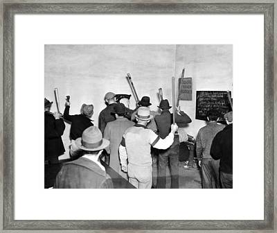 Pickets Ready For Strike Framed Print by Underwood Archives