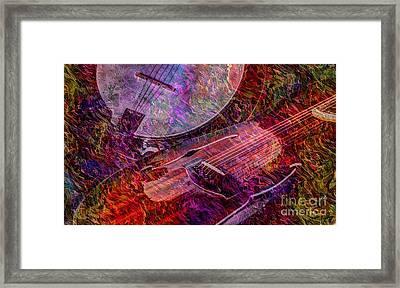 Pickin And A Grinnin Digital Banjo And Guitar Art By Steven Langston Framed Print by Steven Lebron Langston