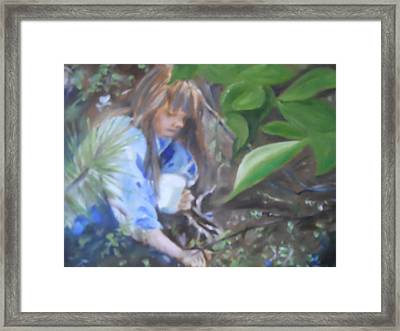 Picking Blueberries Framed Print by Joyce Reid