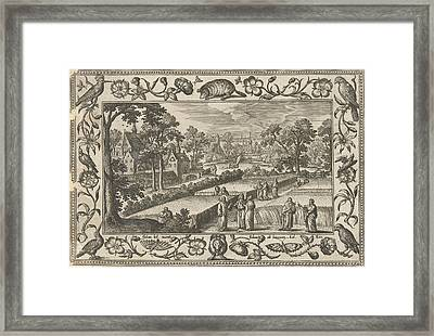 Picking Corn On The Sabbath, Adriaen Collaert Framed Print by Adriaen Collaert And Eduwart Van Hoeswinckel