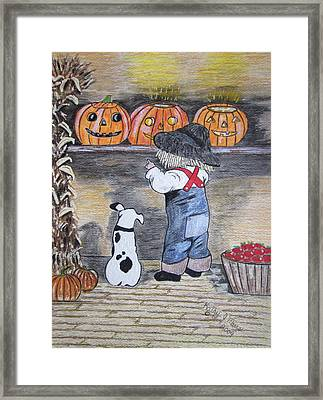 Picking Out The Halloween Pumpkin Framed Print by Kathy Marrs Chandler