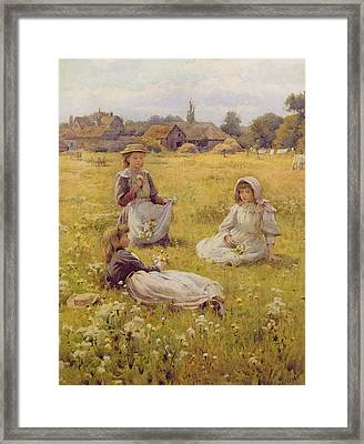 Picking Wild Flowers Wc On Paper Framed Print by William Affleck