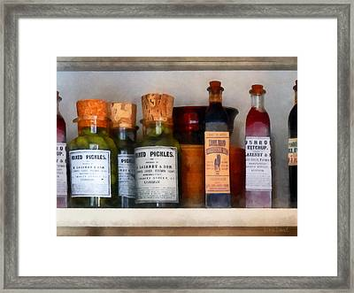 Pickles Ketchup And Worcestershire Sauce Framed Print