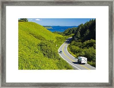 Pickup Camper Driving Along Chiniak Framed Print