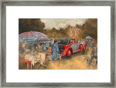 Picnic At Althorp Oil On Canvas Framed Print