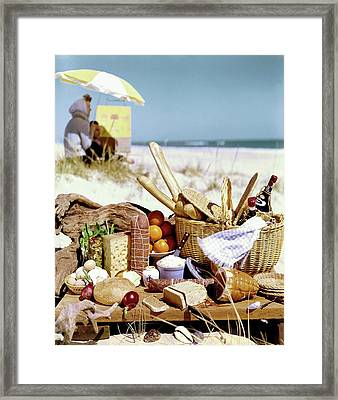 Picnic Display On The Beach Framed Print by Stan Young