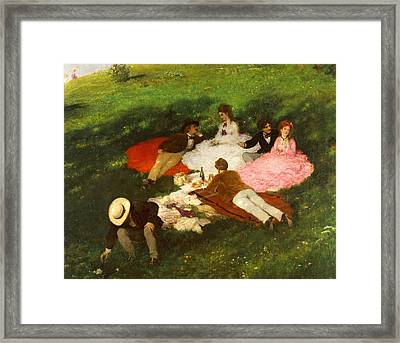 Picnic In May Framed Print by Pal Szinyei Merse
