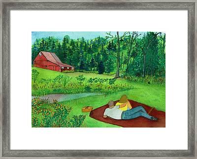Picnic On The Farm Framed Print