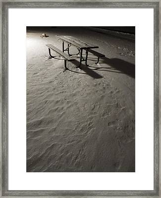 Picnic Table In The Untried Snow Framed Print by Guy Ricketts