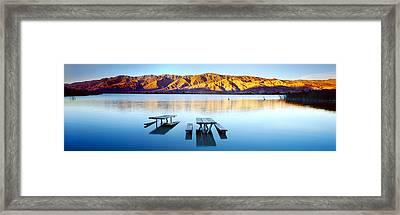 Picnic Tables In The Lake, Diaz Framed Print