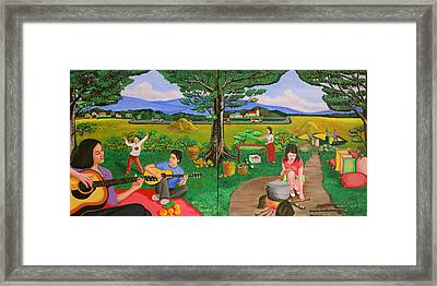 Picnic With The Farmers And Playing Melodies Under The Shade Of Trees Framed Print by Lorna Maza