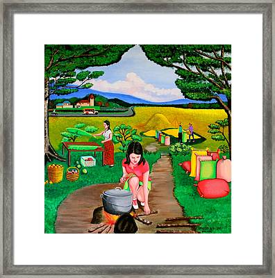 Picnic With The Farmers Framed Print by Lorna Maza