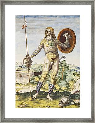 Pictish Man, From Admiranda Narratio..., Engraved By Theodore De Bry 1528-98 1585-88 Coloured Framed Print by John White