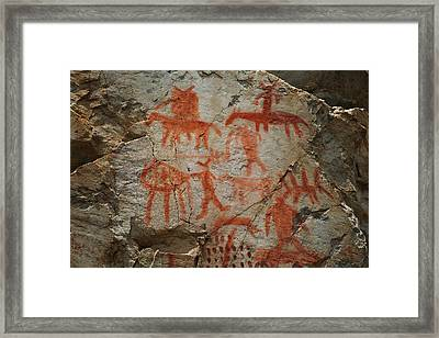 Pictographs On The Salmon River Framed Print