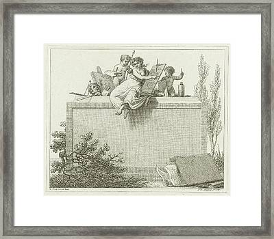 Pictura Flanked By Two Putti, Jacob Ernst Marcus Framed Print by Jacob Ernst Marcus