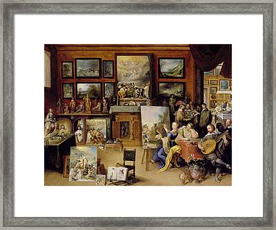 Pictura, Poesis And Musica In A Pronkkamer Oil On Panel Framed Print by Frans II the Younger Francken
