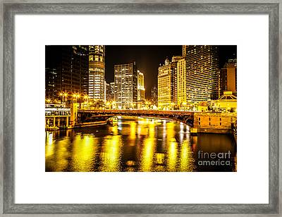 Picture Of Chicago At Night With State Street Bridge Framed Print