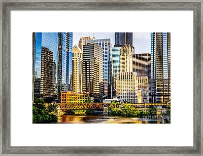 Picture Of Chicago Buildings At Lake Street Bridge Framed Print by Paul Velgos