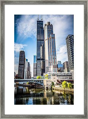 Picture Of Chicago Buildings With Willis-sears Tower Framed Print by Paul Velgos
