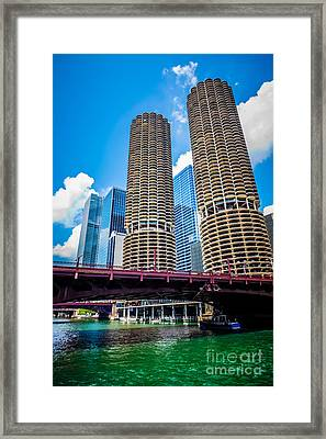 Picture Of Chicago Marina City Corncob Buildings Framed Print by Paul Velgos