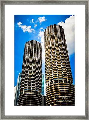 Picture Of Chicago Marina City Towers Framed Print by Paul Velgos