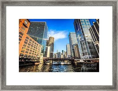 Picture Of Chicago River Skyline At Clark Street Bridge Framed Print